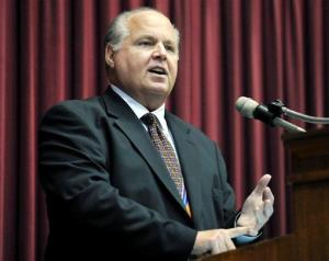 Rush Limbaugh speaks during a ceremony inducting him into the Hall of Famous Missourians last year.
