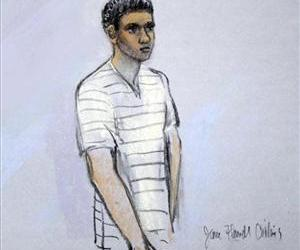 This courtroom sketch shows signed by artist Jane Flavell Collins defendant Robel Phillipos appearing in front of Federal Magistrate Marianne Bowler at the Moakley Federal Courthouse, May 1, 2013.
