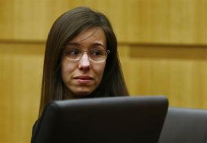 Jodi Arias looks at her family after being found of guilty of first-degree murder in the gruesome killing her one-time boyfriend, Travis Alexander, Wednesday, May 8, 2013, in Phoenix.