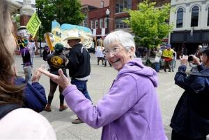 Activist Sister Megan Rice attends a rally by supporters before her trial with fellow anti-nuclear weapons activists Michael Walli, 64, and Greg Boertje-Obed, 56, on Monday, May 6, 2013, in Knoxville, Tenn. The activists, who call themselves Transform Now Plowshares, say in court filings that after they refused to plead...