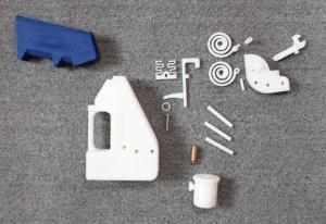 The gun's parts, which require a professional-grade 3D printer to produce.