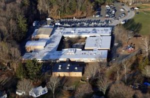 This Dec. 14, 2012, aerial file photo shows Sandy Hook Elementary School in Newtown, Conn.