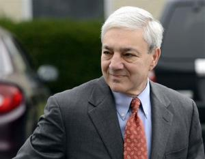 In this Nov. 7, 2012, file photo, former Penn State president Graham Spanier enters Harrisburg District court in Harrisburg, Pa.