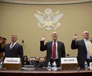 Witnesses are sworn in during the House Oversight Committee's May 8 hearing on the attack on the Benghazi consulate.