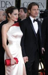 Angelina Jolie and Brad Pitt arrive at the 69th Annual Golden Globe Awards Sunday, Jan. 15, 2012, in Los Angeles.
