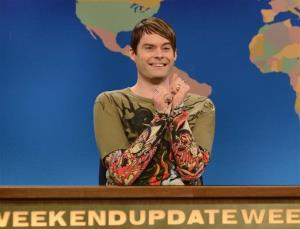 Bill Hader in character as Stefon on Saturday Night Live.