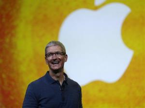 In this Tuesday, Oct.  23, 2012, file photo Apple CEO Tim Cook speaks during an event to announce new products in San Jose, Calif.