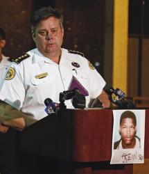 New Orleans Police Superintendent Ronal Serpas announces the issuance of an arrest warrant for 19-year-old Akein Scott, Monday, May 13, 2013.