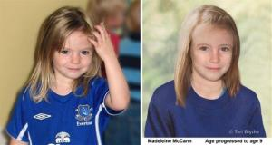 Photos of four year old missing child Madeleine McCann and an age progression computer generated image of her at 9 years old.