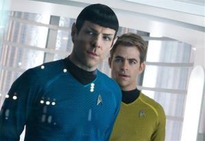Zachary Quinto, left, as Spock and Chris Pine as Kirk in a scene in the movie Star Trek Into Darkness.