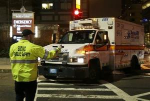 An ambulance carrying Dzhokhar Tsarnaev turns into Beth Israel Deaconess Medical Center Friday, April 19, 2013.