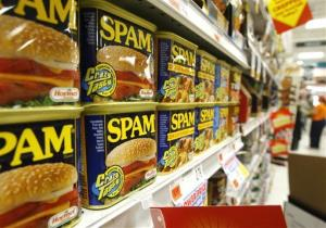 Cans of Spam line the shelves at a store in Berlin, Vt., Tuesday, May 27, 2008.