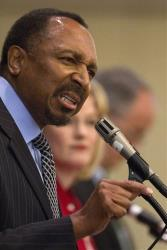 E.W. Jackson speaks at the last Virginia Republican Senatorial debate before the June 12 Virginia primary, at the Fairview Park Marriott, in Falls Church, Va., on Friday, May 25, 2012.