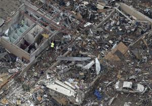 An aerial view shows the remains of  Plaza Towers Elementary School in Moore, Oklahoma.