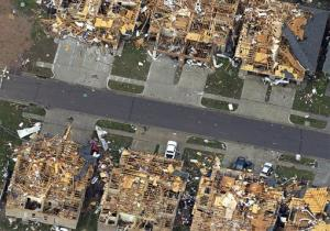 This aerial photo shows homes damaged by Monday's tornado in Moore, Oklahoma.