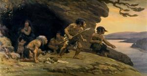 This picture provided by the American Museum of Natural History shows a mural depicting Neanderthal life.