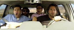 """This publicity photo released by Warner Bros. Pictures shows, from left, Justin Bartha as Doug, Zach Galfianakis as Alan, Ed Helms as Stu and Bradley Cooper as Phil in """"The Hangover Part III."""""""