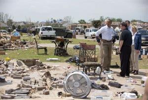 President Barack Obama views the devastation of Moore, Oklahoma.