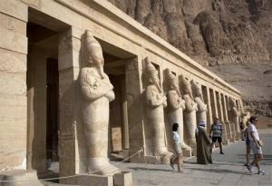 Foreign tourists visit a temple in the ancient southern city of Luxor, Egypt.