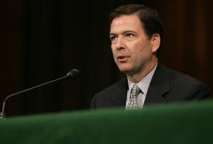 Former Deputy Attorney General James Comey testifies on Capitol Hill in 2007.
