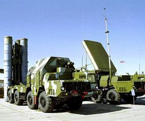 A Russian S-300 anti-aircraft missile system is seen on display in an undisclosed location in Russia.
