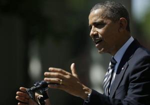 President Obama speaks in the Rose Garden of the White House Friday.