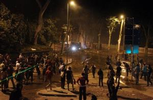 Protesters clash with police in Istanbul last night.