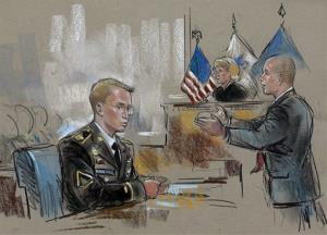 In this courtroom sketch, Army Pfc. Bradley Manning watches at left as his defense attorney, David Coombs, right, speaks in front of military judge Army Col. Denise Lind on the opening day of Manning's court martial in Fort Meade, Md., Monday, June 3, 2013. Manning, who was arrested three years...