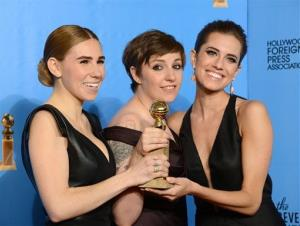 Zosia Mamet, left, Lena Dunham, center, and Allison Williams pose with an award for Girls backstage at the 70th Annual Golden Globe Awards at the Beverly Hilton Hotel on Jan. 13, 2013.
