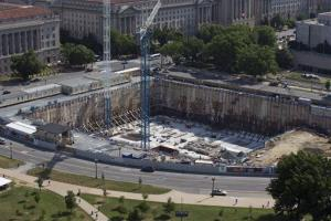 This photo taken June 2 shows the under-construction Smithsonian National Museum of African American History and Culture in Washington.