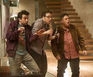 This film publicity image released by Columbia Pictures shows, from left, Jay Baruchel, Seth Rogen and Jonah Hill in a scene from This Is The End.