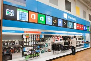 This undated photo provided by Microsoft shows a Windows store at Best Buy.