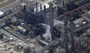 A chemical plant fire is seen in this aerial photo about twenty miles southeast of Baton Rouge, in Geismer, Louisiana.