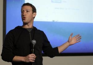In this Jan. 15, 2013 file photo, Facebook CEO Mark Zuckerberg speaks at Facebook headquarters.