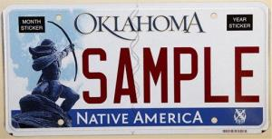 The standard Oklahoma license plate depicts Allan Houser's Sacred Rain Arrow bronze sculpture. A minister was unimpressed and sued.