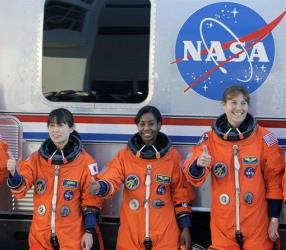 Space shuttle Discovery's three female astronauts in 2010.
