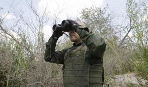 US Customs and Border Patrol agent Sanchez patrols along the Rio Grande, in Penitas, Texas.