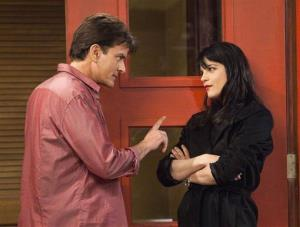 This publicity image released by FX shows Charlie Sheen as Charlie Goodson and Selma Blair as Kate Wales in a scene from the new comedy Anger Management.