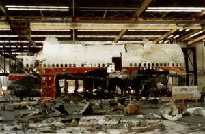 This 1997 photo released by the National Transportation Safety Board shows reconstruction work continuing in Calverton, N.Y., on TWA Flight 800.