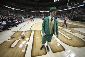 Notre Dame's leprechaun mascot watches practice at the NCAA Women's Final Four in Denver last year.