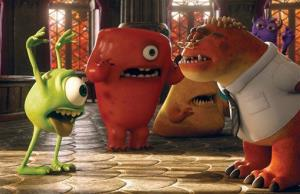 Mike, voiced by Billy Crystal, left, and Professor Knight, voiced by Alfred Molina, in Monsters University.