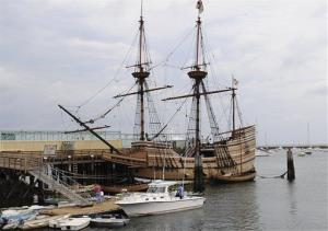 In this Sept. 9, 2008 file photo, a replica of the Mayflower ship sits docked in Plymouth, Mass.