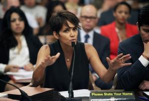 Actress Halle Berry testifies before the Assembly Committee on Public Safety in Sacramento.