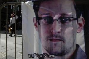 A banner supporting Edward Snowden is displayed in Hong Kong.