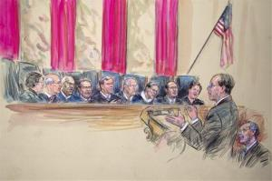 This artist rendering shows attorney Paul Clement addressing the court on DOMA.