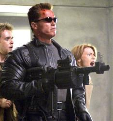 This undated file photo originally supplied by Warner Bros. Pictures shows Arnold Schwarzenegger in his role as the Terminator in Terminator 3: Rise of the Machines.
