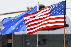 The US and European Union flags.