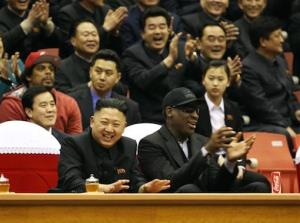 This publicity image released by HBO shows former NBA basketball player Dennis Rodman, right, with North Korea's Kim Jong Un at a basketball game from an episode of the documentary series Vice.
