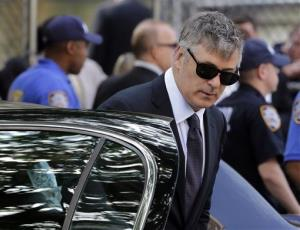 Alec Baldwin arrives for the funeral service of James Gandolfini in New York's the Cathedral Church of Saint John the Divine, Thursday, June 27, 2013.