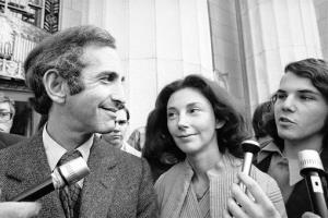 In this Wednesday, April 12, 1973 photo, Daniel Ellsberg, co-defendant in the Pentagon Papers trial, talks with newsmen after he testified in Los Angeles.